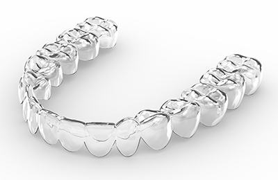 A digital image of a clear aligner used when treating patients with Invisalign in White Settlement