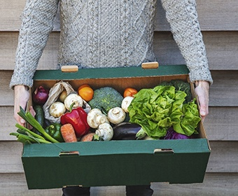 person holding a box of fresh vegetables